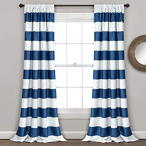 Lush Decor Stripe Blackout Curtains   Room Darkening Window Panel Set (Pair), 84