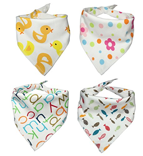 Baby Bandana Drool Bib - 4 Pack baby bibs and burp cloths with Snaps - Soft Absorbent Infant and Toddler Accessories - Perfect Baby Gift Set for Drooling,Feeding,Teething Use for Boy and Girl Use