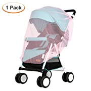Lyonice Baby Mosquito Net for Stroller, Netting for Infant Carriers, Car Seat, Cribs, Cradles, Bassinets, Playpens, Soft Durable Insect Shield Netting, Mesh Cover - Pink
