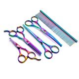 Professional Pet Grooming Scissors 5 Set - Colorful Round Head Safety Animal Trimmer Kit 4.5-6.5 Inch Stainless - Can be Used in Cat Dog Body - Face - Ear - Nose - Claw