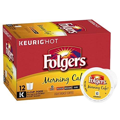 Folgers Morning Café, Mild Roast Coffee, K-Cup Pods for Keurig K-Cup Brewers, 12-Count (Pack of 6)