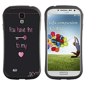 "Hypernova Slim Fit Dual Barniz Protector Caso Case Funda Para SAMSUNG Galaxy S4 IV / i9500 / i9515 / i9505G / SGH-i337 [Tener Clave Mi corazón bloquear texto de San Valentín""]"
