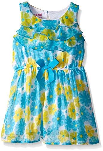 Nannette Little Girls' Toddler Printed Chiffon with Contrast Ribbon Belt, Aqua/Yellow, (Belt Clothing Brands)