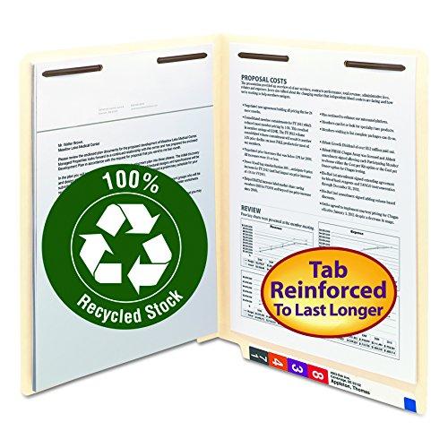 Smead 100% Recycled End Tab Fastener File Folder, Shelf-Master Reinforced Straight-Cut Tab, 2 Fasteners, Letter Size, Manila, 50 per Box (34160) (Smead Charts)
