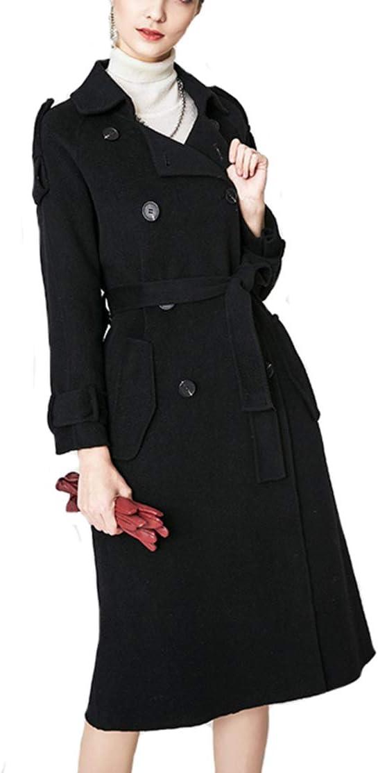 2020 Winter Woolen coat Womens Lapel Button Long Trench Coat