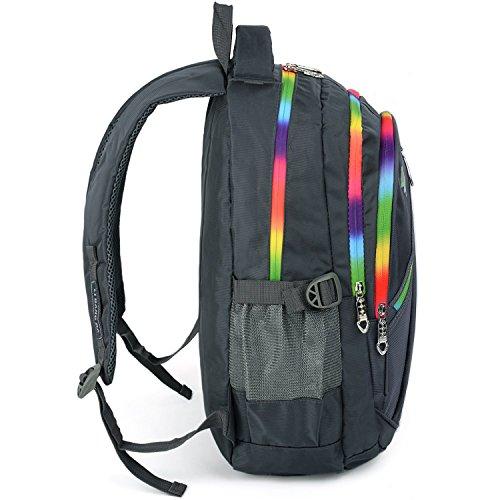 UTO Backpack Nylon Child Teenager Rucksack Primary Junior School Bookbag 520 Grey by UTO (Image #4)