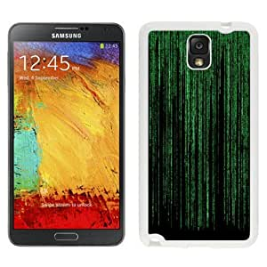 NEW Unique Custom Designed Samsung Galaxy Note 3 N900A N900V N900P N900T Phone Case With The Matrix Green Vertical Flowing Text_White Phone Case