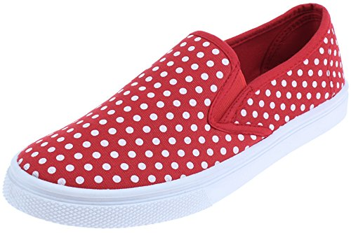 Red Casual Shoes - Capelli New York Ladies Polka Dot Printed Slip-On Shoes Red 9