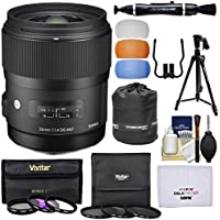 Sigma 35mm f/1.4 Art DG HSM Lens with 6 Filters + Tripod + Pouch + Kit for Nikon Digital SLR Cameras