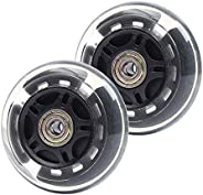 ABEY 2-Pack Light Up Scooter Rear Wheels, LED Flash Flashing Inline Skates Replacement Wheel for Adjustable 3-