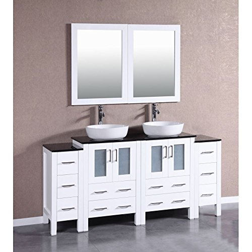 "hot sale 2017 Bosconi Bathroom Vanities 72"" Double Vanity Set With Oval Vessel Sinks, Countertops, 2 Cabinets, 2 Mirrors, And 2 Side Cabinets, White/Tempered Black Glass"