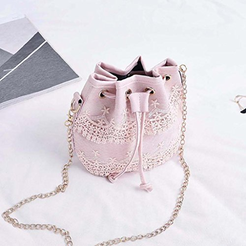good01 Leather Handbag Faux Women Pink Lace Bag Lovely Chain Purse Crossbody Small Sling pXpwrq