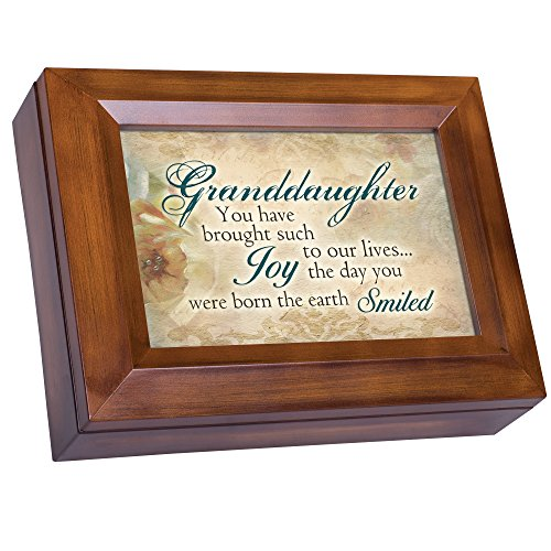 Cottage Garden Granddaughter Brought Joy Day You were Born Woodgrain Digital Keepsake Music Box Plays The Dance