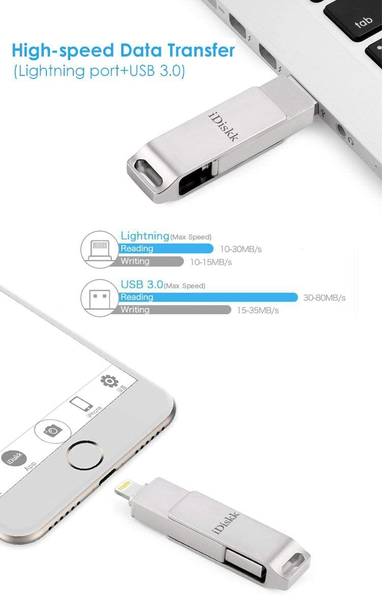 MFi Certified iPhone Flash Drive 64GB Storage for iPhone 11 pro XR XS Max iPad Lightning External Storage Photo Stick for iPhone X,iPhone 7,iPhone 5,iPad Mini,iPad air,iPod,Mac and PC for iOS 13