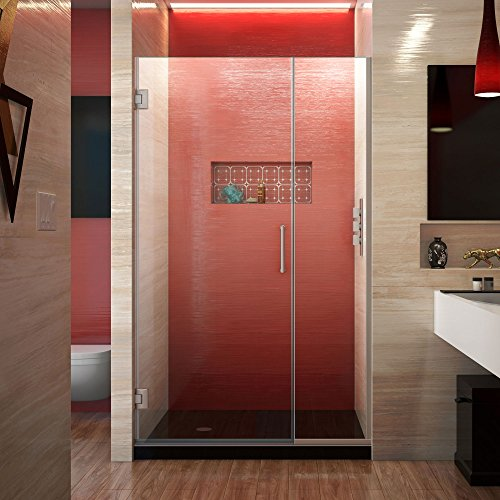 DreamLine Unidoor Plus 39 1 2 – 40 in. W x 72 in. H Frameless Hinged Shower Door in Brushed Nickel, SHDR-243957210-04