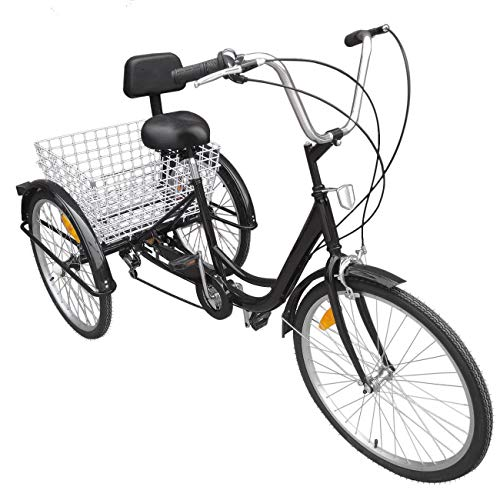 Thaisan7, 6-Speed 24' 3-Wheel Adult Tricycle Bicycle Trike Cruise Bike W/large Basket, fun healthy riding