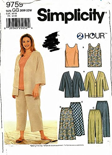 Download Simplicity Pattern 9759 Women's Unlined Jacket, Top, Cropped Pants and Skirt Sizes 26W-32W ebook