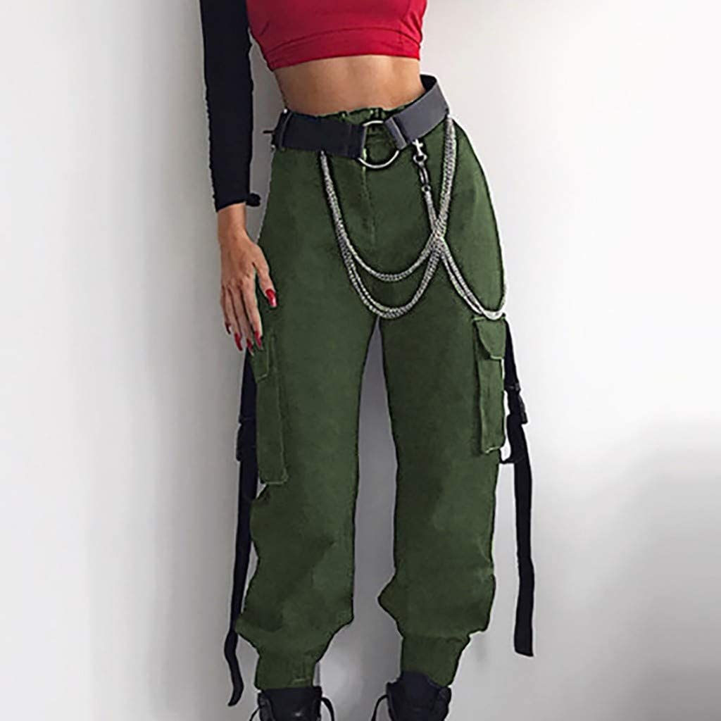 XNV Fashion Womens Popular Casual High Waist Harem Pants Long Trousers with Belt