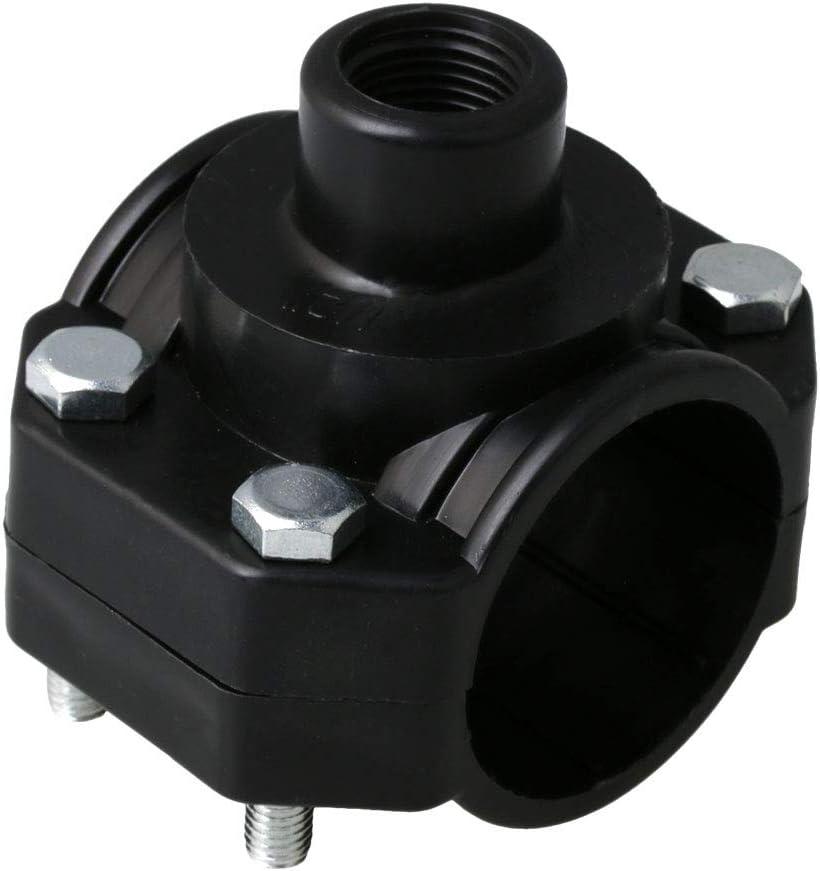 Yibuy 50mm Diameter Plastic Clamp-On Pipe Saddle Thread 1//2inch BSP Black