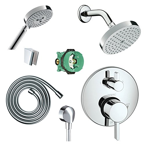 Hansgrohe KSH04447-27486-14PC Raindance Shower Faucet Kit with Handshower PBV Trim with Diverter and Rough, Chrome
