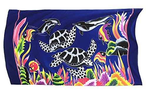 Hand Painted Hawaii Sarong Dress Swim Cover up Beach Wear Turtles Dolphins - Painted Dolphin Hand