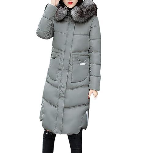WINWINTOM Mujer Casual más gruesa de invierno Slim Down Lammy chaqueta abrigo largo abrigo Outwear