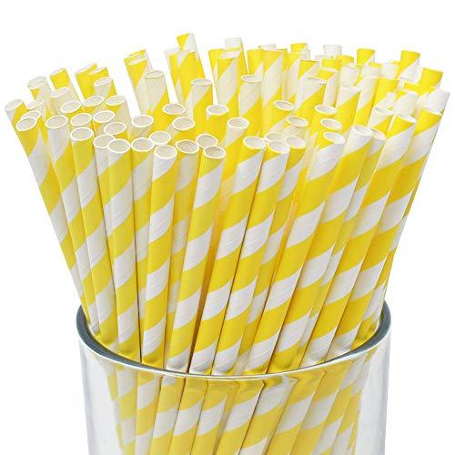 - Just Artifacts 100pcs Premium Biodegradable Striped Paper Straws (Striped, Yellow)