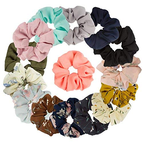 15 Assorted Colors Womens Chiffon Flower Hair Scrunchies Chiffon Hair Ties Ponytail Holder, 8 Colors Chiffon Flower Scrunchies + 7 Solid Colors Hair Chiffon Scrunchies