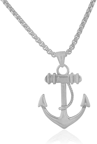 """Silvertone Nautical Anchor Necklace 24/"""" Stainless Steel Rolo Link Chain"""