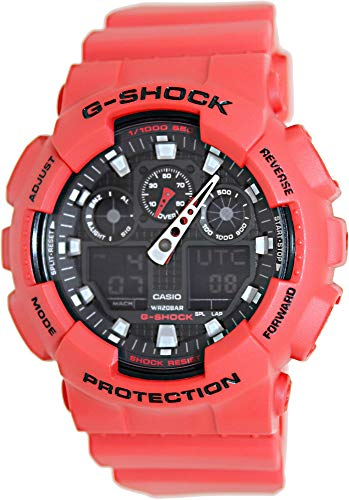 Casio Men's XL Series G-Shock Quartz 200M WR Shock Resistant Resin Color: Red (Model GA-100B-4ACR)
