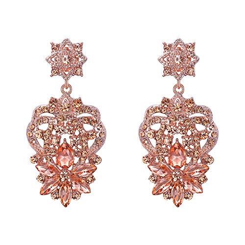 EVER FAITH Marquise Crystal Star Flower Elegant Bridal Pierced Dangle Earrings Champagne Rose Gold-Tone ()