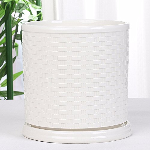 Flowerpot Ceramic White Cylindrical Green Green Pedestal Pen Holder Tray,A Ceramic Pedestal