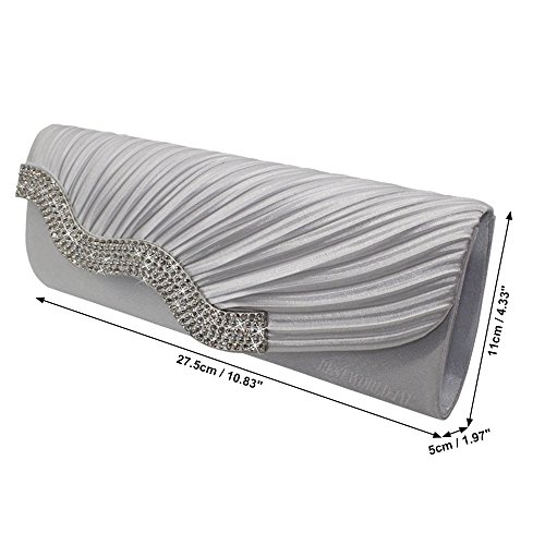 Bag Evening Party Wedding Wocharm Handbag Womens Satin Prom Diamante Clutch White Crystal Ladies AnHXTH
