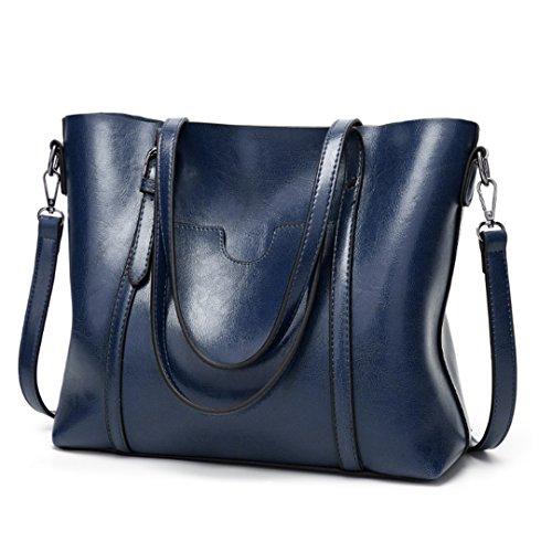 a Ciara vintage in da donna bag tracolla vera tote Blu Borsa modello pelle gUPdwqW0