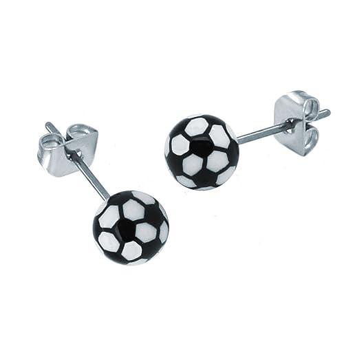 2 pendientes en el diseño de fútbol balón de fútbol blanco y negro ...