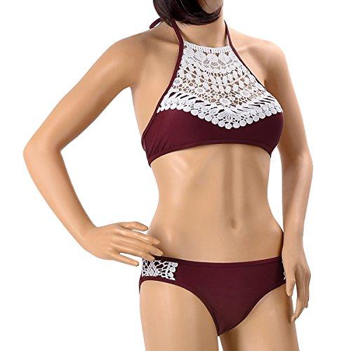 Delle Set Merletto Serbatoio Bikini Del Donne Splicing Loel Capestro Vino Modo Imbottitura PRFzn