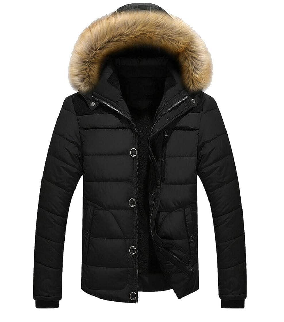 heymoney Men Casual Thick Fur Warm Puffer Coats Winter Hood Outwear Jacket