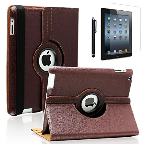 Zeox 360 Degree Rotating PU Leather iPad 4 Case with Screen Protector Cover & Stylus: Multi-angle Stand Folio Cover with Smart Wake Up Sleep for Apple iPad 2/iPad 3/iPad 4 - Brown