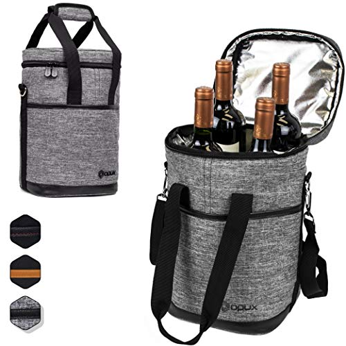 Premium Insulated 4 Bottle Wine Carrier Tote Bag   Wine Travel Bag with Shoulder Strap and Padded Protection   Wine Cooler Bag (Heather Gray)