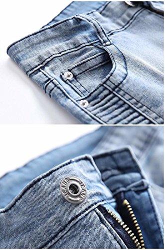 Kihatwin Big Boy Fashion Biker Moto Ripped Distressed Skinny Slim Fit Jeans Jeans Blue 12 by Kihatwin (Image #5)