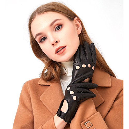 Womens Vintage Soft And Thin Excellent Quality Lambskin Touch Screen Black Leather Driving Gloves Black Lambskin Leather Gloves