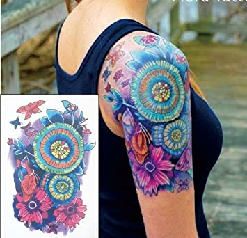 Blumen Tattoo Bunt Fake Tattoo Ft01 Einmal Tattoo Amazonde Beauty
