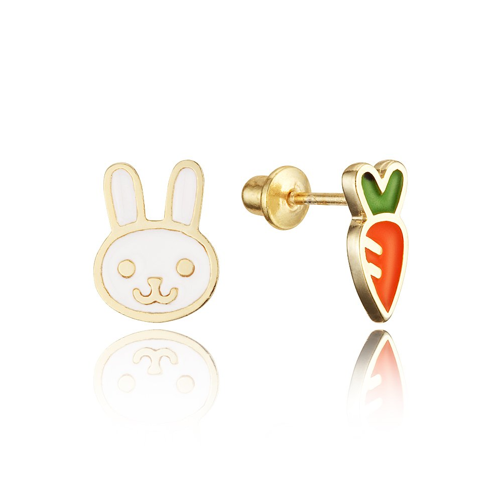 14k Gold Plated Enamel Rabit Carrot Baby Girls Earrings with Sterling Silver Post Lovearing BE3395