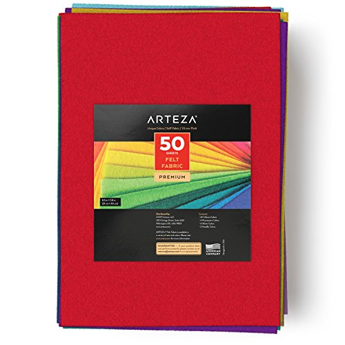 ARTEZA 50 Assorted Stiff Felt Fabric Sheets, 8.3''x11.8'' Squares, 1.5mm Thick for DIY Crafts, Sewing, Crafting Projects by ARTEZA (Image #3)