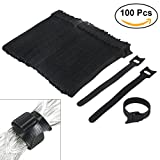 Tinksky Nylon Cable Ties, 6 Inch Fastening Cable Ties with Reusable Hook and Loop Strap Cable Ties for Organizer Fastening - 100 Pack (Black)