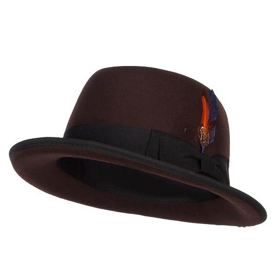Faux Felt Feather Trim Homburg Hat