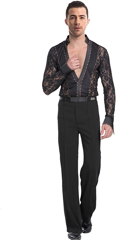 KINDOYO Hombres Mangas Largas Cord/ón Transl/úcido Lat/ín Baile Camisa /& Pantalones Actuaci/ón Ropa Esc/énica Disfraces Bailando Jazz Trajes