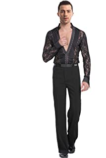 795e3ac6d21f BOZEVON Mens Classic V Collar Latin Dance Lace Shirt Set Fashion Long  Sleeve Performance Outfits