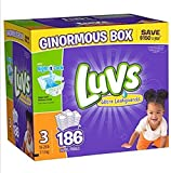 Health & Personal Care : Luvs Ultra NightLock baby skin dry lock wetness Leakguards Diapers, Size 3, 186 Count
