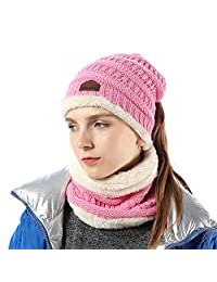 INFLATION Ponytail Beanie High Bun Hats Women/Girls Scarf Set Soft Stretch Winter